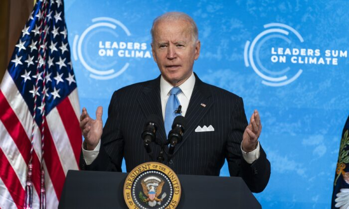 President Joe Biden speaks to the virtual Leaders Summit on Climate, from the East Room of the White House, on April 23, 2021. (Evan Vucci/AP Photo)