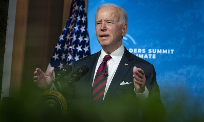 President Joe Biden speaks to the virtual Leaders Summit on Climate, from the East Room of the White House in Washington on April 22, 2021. (Evan Vucci/AP Photo)