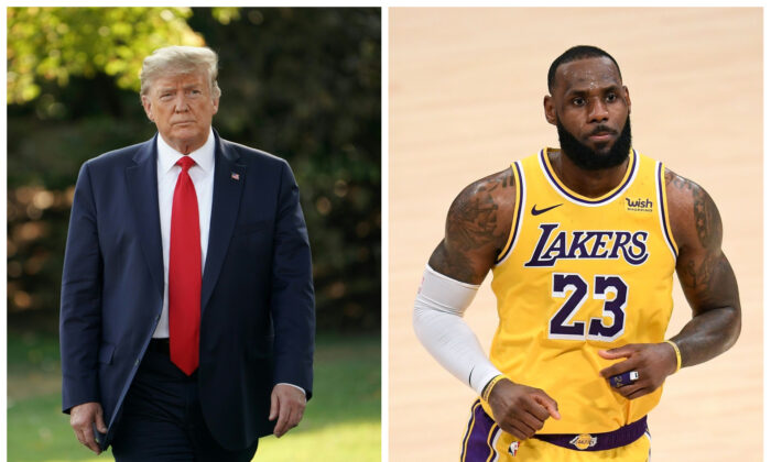 L: Then-President Donald Trump in D.C. on Sept. 16, 2019. (Mandel Ngan/Getty Images) R: LeBron James in Los Angeles, Calif., on Feb. 6, 2021. (Harry How/NBAE via Getty Images)