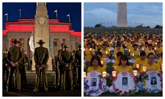 L: Australians and New Zealanders commemorate their fellow countrymen who died at war at the Auckland War Memorial Museum on April 25, 2021. (Auckland War Memorial Museum-Tamaki Paenga Hira) and R: Falun Gong practitioners honor the thousands who have died in the Chinese regime's persecution of the peaceful meditation practice in Washington, D.C. (Lisa Fan/The Epoch Times)