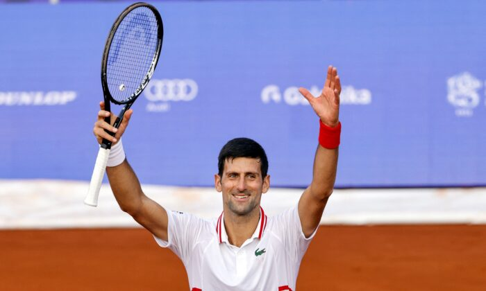 Serbia's Novak Djokovic celebrates his victory after the ATP 250 Serbia Open tennis tournament singles match against South Korea's Soonwoo Kwon at the Novak Tennis Center in Belgrade on April 21, 2021. (Pedja Milosavljevic/AFP via Getty Images)