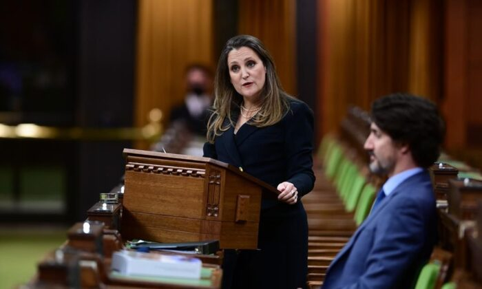 Finance Minister Chrystia Freeland delivers the federal budget in the House of Commons as Prime Minister Justin Trudeau looks on in Ottawa on April 19, 2021. (The Canadian Press/Sean Kilpatrick)