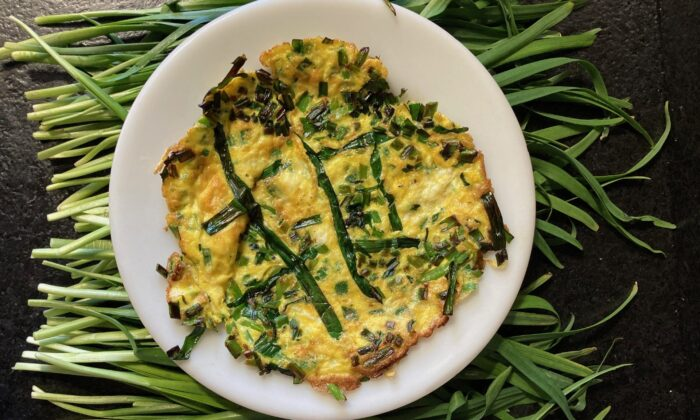 Serve this chive-streaked omelet doused with soy sauce, with coffee on the side. (Ari LeVaux)