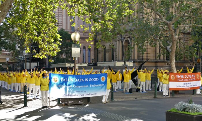 Sydney Falun Gong practitioners remember the historic April 25, 1999 appeal in China on April 23, 2021 in 