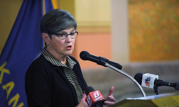 Kansas Gov. Laura Kelly speaks during an event at the Statehouse in Topeka. Kan., on April 21, 2021. (John Hanna/AP Photo)