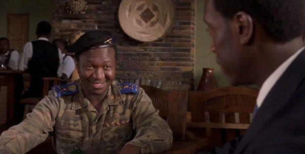 black military talking to black man