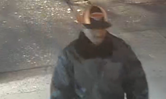 The suspect of an attack of an elderly Asian male is seen on surveillance footage in New York City, N.Y., on April 23, 2020. (NYPD)