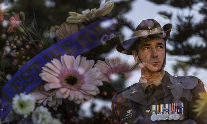 A service member is pictured at the Coogee Dawn Service in Sydney, Australia, on April 25, 2021. (Brook Mitchell/Getty Images)