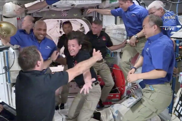 Crew 2 is welcomed by Crew 1 aboard the International Space Station