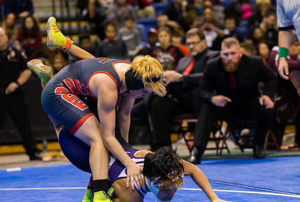 Trinity junior Mack Beggs, a transgender athlete, wrestles Katy Morton Ranch junior Chelsea Sanchez in the final round of the 6A Girls 110 Weight Class match during the Texas Wrestling State Tournament at Berry Center in Cypress, Texas, on Feb. 25, 2017. (Leslie Plaza Johnson/Icon Sportswire via Getty Images)