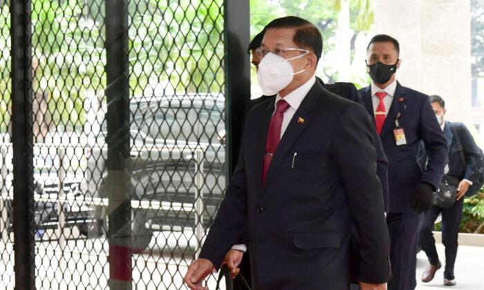 Burma's Senior Gen. Min Aung Hlaing arrives for an ASEAN leaders' meeting at the ASEAN Secretariat in Jakarta, Indonesia, on April 24, 2021. (Muchlis Jr./Indonesian Presidential Palace via AP)