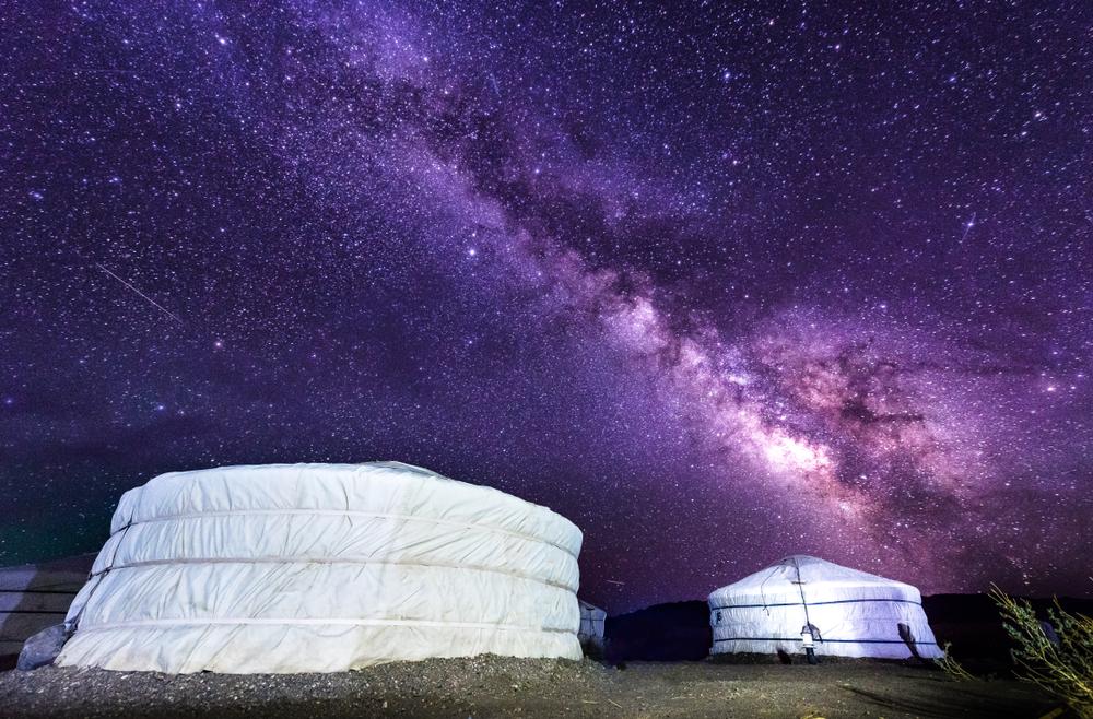 Milky,Way,Over,Ger,Camp,In,Mongolia,Gobi,Desert.,Millions