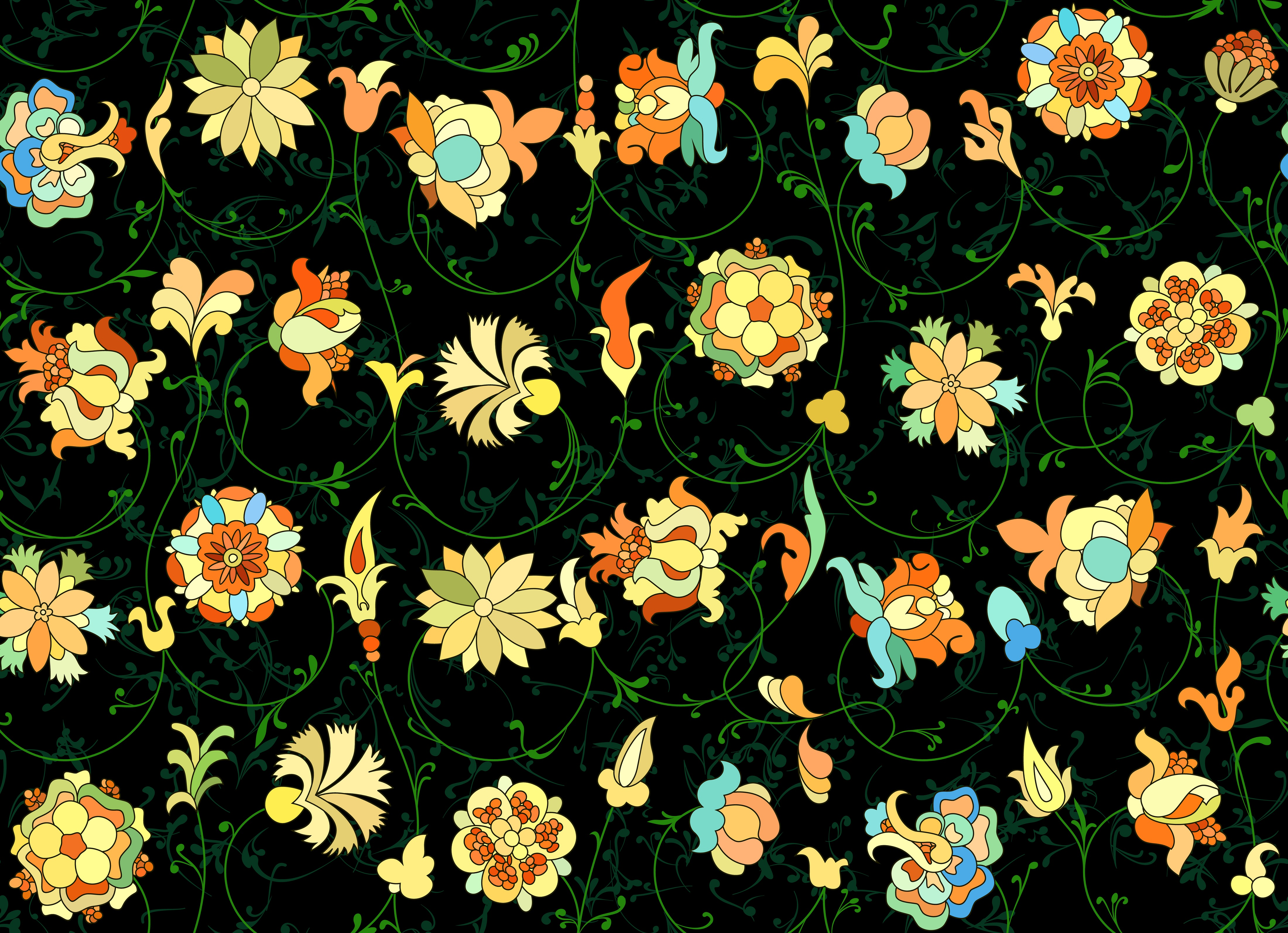 Traditional,Russian,Floral,On,Black,Repeatable,Pattern,Based,On,St