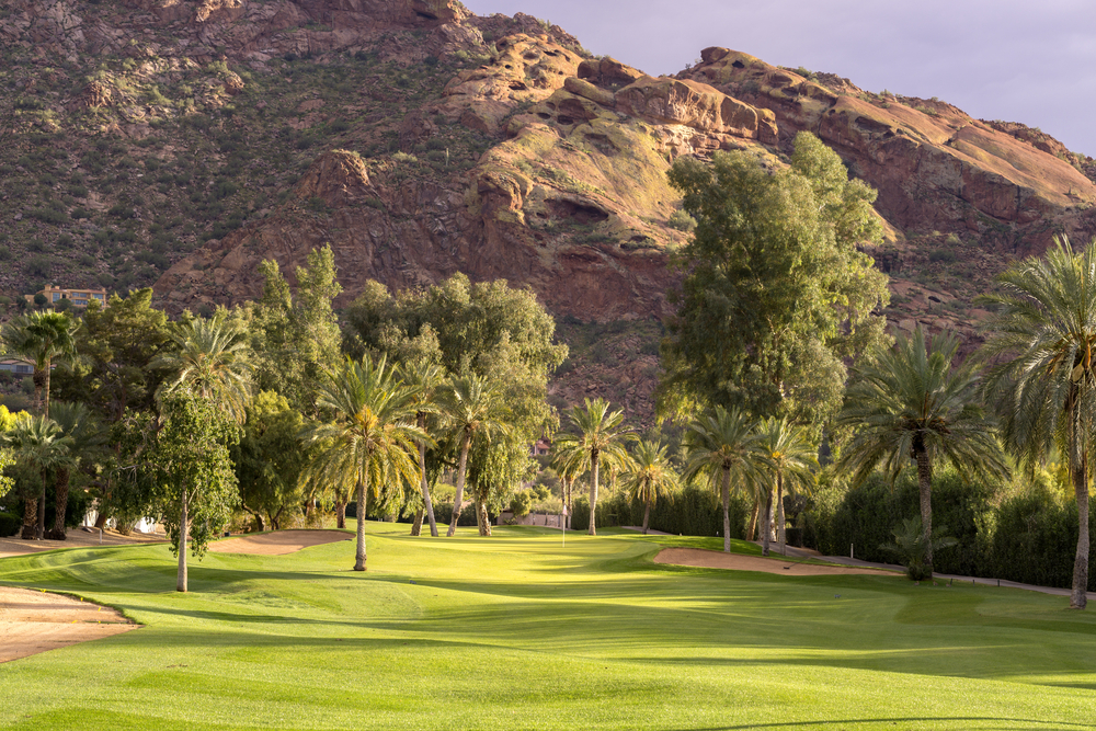 Golf,Course,Fairway,Bathed,In,Beautiful,Golden,Hour,Light,With