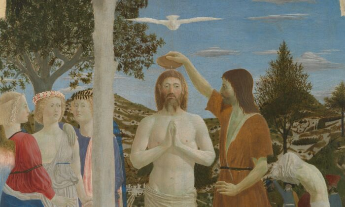 """A detail from Piero della Francesca's """"The Baptism of Christ,"""" 1448. National Gallery, London. (Public Domain)"""