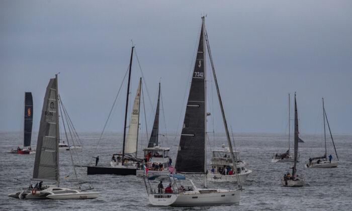 Boats partake in the 73rd annual Newport Beach to Ensenada Boat Race, in Newport Beach, Calif., on April 23, 2021. (John Fredricks/The Epoch Times)