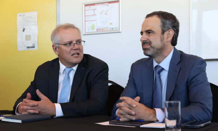 Australian Prime Minister Scott Morrison attends a meeting with AMA President Dr. Omar Khorshid and General Practitioners during a round table talk at the Stirling Community Centre in Perth, Australia on Apr. 15, 2021. (Photo by Paul Kane/Getty Images)