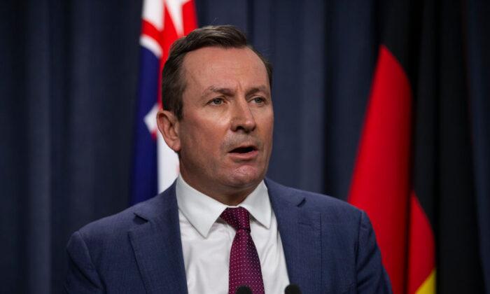 WA Premier Mark McGowan speaks to media at Dumas House in Perth, Australia on April 23, 2021 (Matt Jelonek/Getty Images)