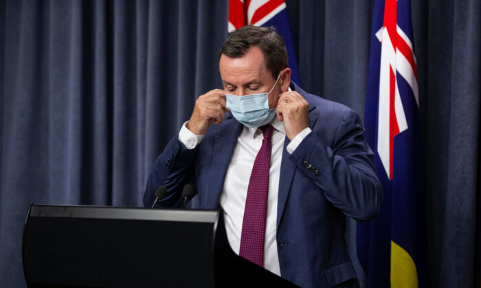 WA Premier Mark McGowan prepares to speak to media at Dumas House in Perth, Australia on Apr. 23, 2021. WA Premier Mark McGowan has announced a snap three-day lockdown for the Perth and Peel regions of Western Australia. (Photo by Matt Jelonek/Getty Images)