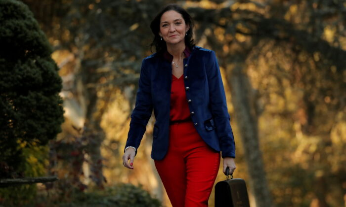 Spain's Industry Minister Maria Reyes Maroto arrives to attend the first cabinet meeting at the Moncloa Palace in Madrid, Spain, on Jan. 14, 2020. (Susana Vera/Reuters)