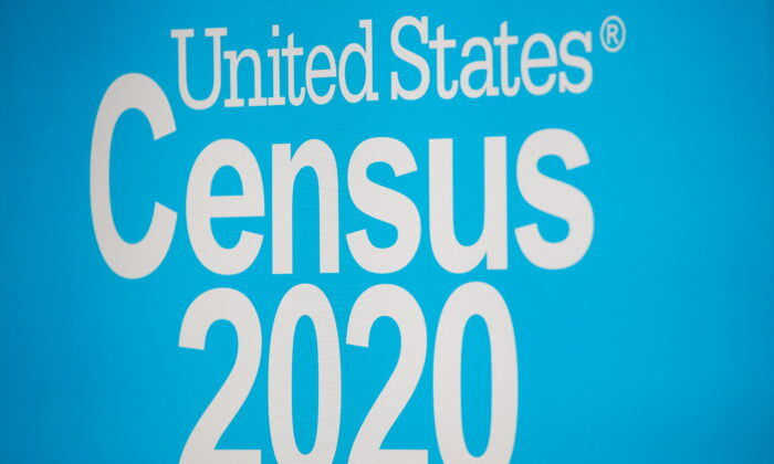 A sign is seen during a promotional event for the U.S. Census in Times Square in New York City, N.Y., on Sept. 23, 2020. (Brendan McDermid/Reuters)