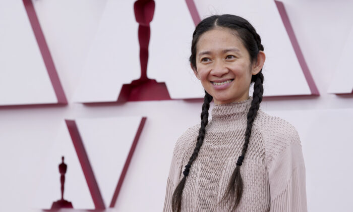 Chloe Zhao arrives at the Oscars at Union Station in Los Angeles, on April 25, 2021. (AP Photo/Chris Pizzello, Pool)