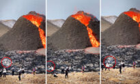 Shocking VIDEO: Sightseers Caught Playing Volleyball in Front of Erupting Volcano in Iceland