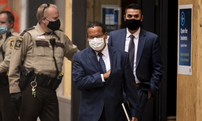 Minnesota Attorney General Keith Ellison exits the Hennepin County Family Justice Center after a pretrial hearing for the four former Minneapolis Police officers charged in the death of George Floyd, in Minneapolis, Minn., on Sept. 11, 2020. (Stephen Maturen/Getty Images)