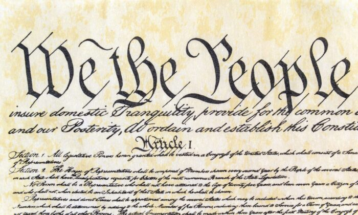 Opening preamble of the United States of America Constitution with a close-up front view. (Tribune Content Agency)