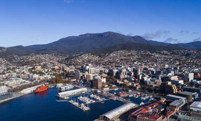 An aerial view of the city of Hobart and Mount Wellington in Tasmania. (AAP Image/Supplied by MACq 01 Hotel, Stu Gibson)
