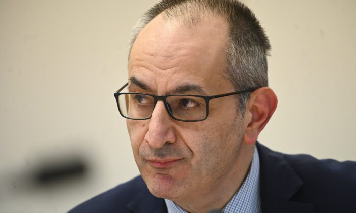 Secretary of the Department of Home Affairs Mike Pezzullo speaks during a Senate inquiry at Parliament House in Canberra on September 24, 2020. (AAP Image/Lukas Coch)