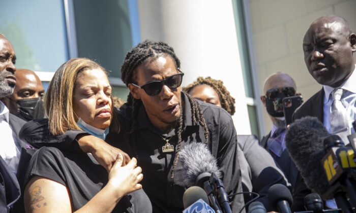 Andrew Brown Jr.'s son Khalil Ferebee, speaks outside the Pasquotank County Public Safety building in Elizabeth City, N.C. on April 26, 2021 after viewing 20 seconds of police body camera video. (Travis Long/The News & Observer via AP)
