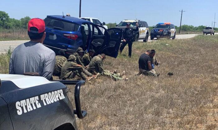 Seven illegal aliens and a driver are apprehended in La Salle County, Texas, on April 24, 2021. (La Salle County Sheriff's Office)