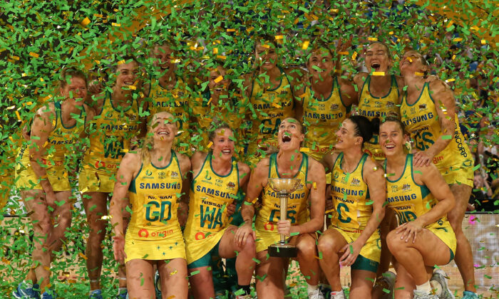 The Australian Diamonds celebrate with the Constellation Cup after winning the 2019 Constellation Cup match between the Australia Diamonds and the New Zealand Silver Ferns at RAC Arena on October 27, 2019 in Perth, Australia. (Paul Kane/Getty Images)