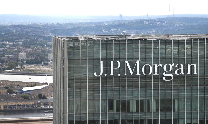 The offices of Investment banking company J.P. Morgan in London on Sept. 2, 2020. (DANIEL LEAL-OLIVAS/AFP via Getty Images)