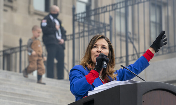 Idaho Lt. Gov. Janice McGeachin speaks during a mask burning event at the Idaho Statehouse in Boise, Idaho, on March 6, 2021.  (Nathan Howard/Getty Images)
