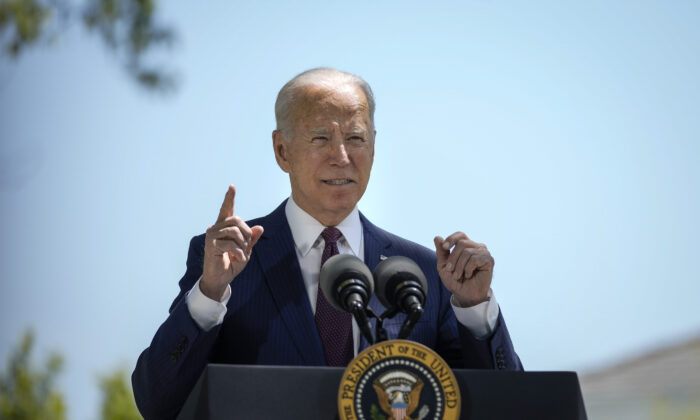 President Joe Biden speaks about updated CDC mask guidance on the North Lawn of the White House in Washington on April 27, 2021. (Drew Angerer/Getty Images)