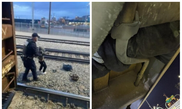 R: CBP Officer removing child from train. L: Person hiding in rail car. (U.S. Customs and Border Protection)