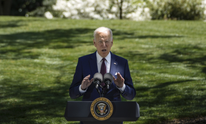 President Joe Biden speaks on the North Lawn of the White House on April 27, 2021. (Drew Angerer/Getty Images)