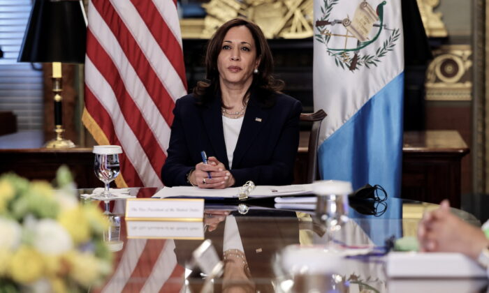 Vice President Kamala Harris listens while holding talks with Guatemala's President Alejandro Giammattei via videoconference, at the White House in Washington, on April 26, 2021. (Evelyn Hockstein/Reuters)