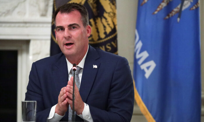 Gov. Kevin Stitt (R-Okla.) speaks during a roundtable at the State Dining Room of the White House in Washington, on June 18, 2020. (Alex Wong/Getty Images)