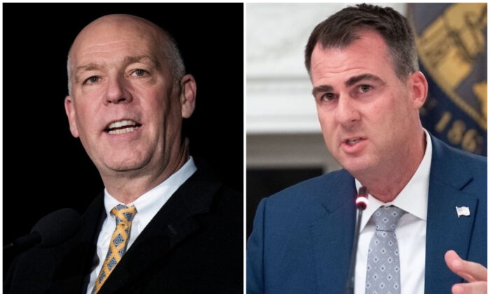 L: Then-Rep. Greg Gianforte (R-Mont.) on Capitol Hill in Washington, on Dec. 6, 2017. (Drew Angerer/Getty Images) R: Oklahoma Gov. Kevin Stitt speaks during a roundtable discussion with President Donald Trump at the White House in Washington, on June 18, 2020. (Saul Loeb/AFP via Getty Images)