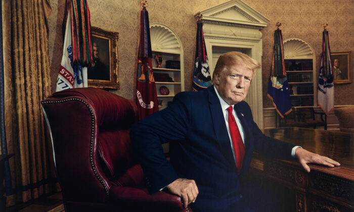 """""""President Donald J. Trump for Time magazine in 2019""""  inkjet print 2019, printed 2020. (Published in Time magazine, July 1, 2019. National Portrait Gallery, Smithsonian Institution. © 2019 Pari Dukovic.)"""