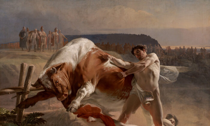 """A detail from """"Ian Usmovets Stopping an Angry Bull,"""" 1849, by Evgraf Semenovich Sorokin. Far Eastern Art Museum, Khabarovsk, Russia. (Public Domain)"""