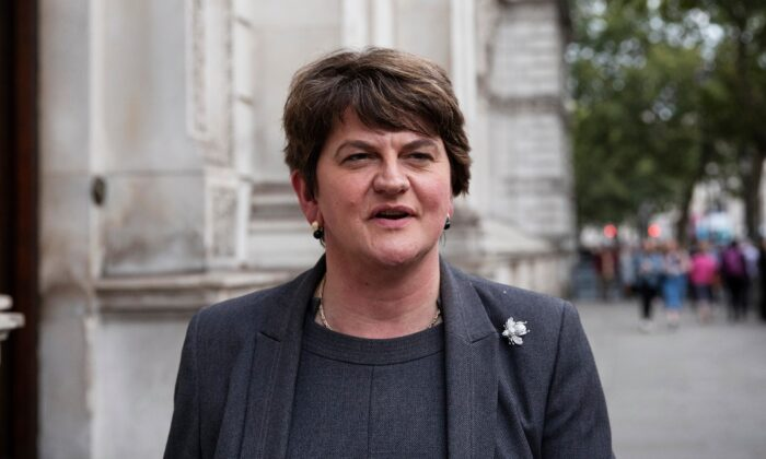 Arlene Foster, leader of the DUP, leaves Downing Street following talks with UK Prime Minister Boris Johnson in London on Sept. 10, 2019. (Dan Kitwood/Getty Images)