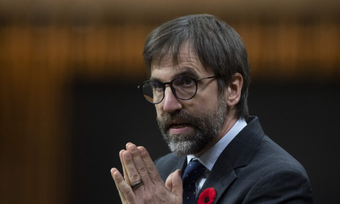 Minister of Canadian Heritage Steven Guilbeault responds to a question during Question Period in the House of Commons in Ottawa, Canada, on Nov. 3, 2020. (Adrian Wyld/The Canadian Press)