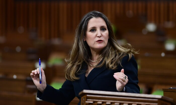 Finance Minister Chrystia Freeland responds to questions from MPs after she delivered the federal budget in the House of Commons in Ottawa on April 19, 2021. (The Canadian Press/Sean Kilpatrick)