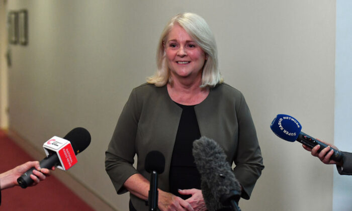MP Karen Andrews speaks to media during a doorstop in the Press Gallery at Parliament House in Canberra, Australia on March 23, 2021. (Sam Mooy/Getty Images)