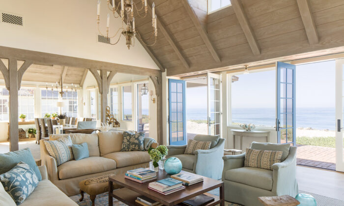 "The family room of a waterfront house in Oceanside, southern California, designed by Steve and Brooke Giannetti. They are an architect and interior designer couple who have become known for their signature ""patina style,"" blending a timeworn aesthetic with a sense of modernity. Their projects are detailed in a new book, ""Patina Homes,"" published by Gibbs Smith. (Lisa Romerein)"
