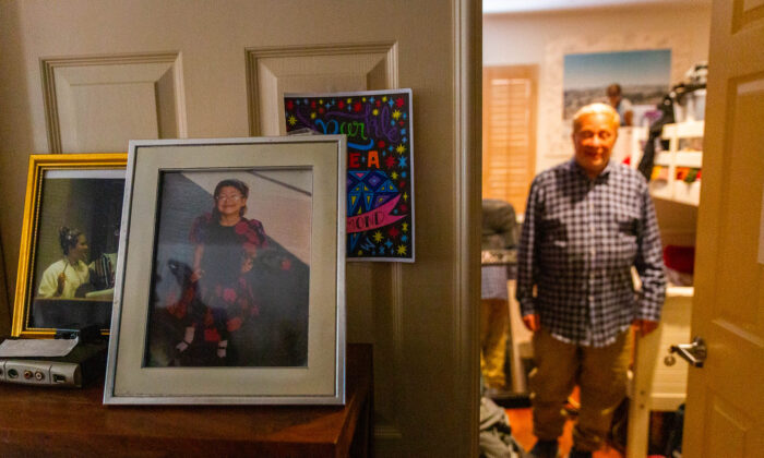 Moley Grossman stands in the bedroom of his daughter, Lili, who has been missing for two weeks in Mission Viejo, Calif., on April 26, 2021. (John Fredricks/The Epoch Times)